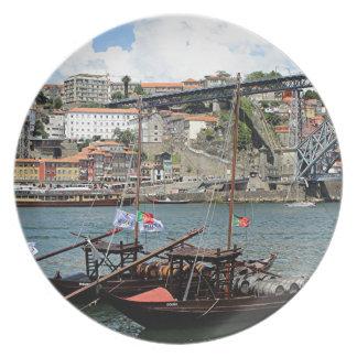 Wine barrel boats, Porto, Portugal Plate