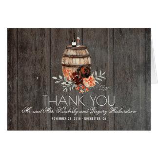 Wine Barrel Burgundy Floral Rustic Thank You Card