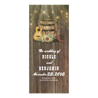Wine Barrel Cowboy Boots Country Wedding Programs Rack Card
