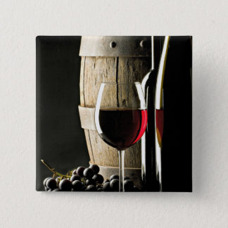Wine Barrel, Grapes, and Glass 15 Cm Square Badge