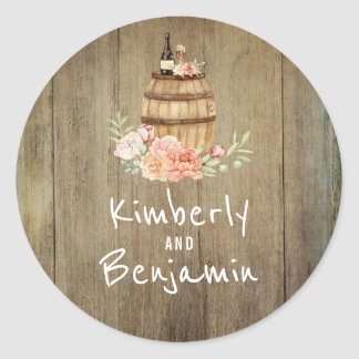 Wine Barrel Rustic Country Wedding Classic Round Sticker