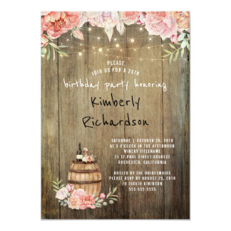 Wine Barrel Rustic String Lights Birthday Party Card