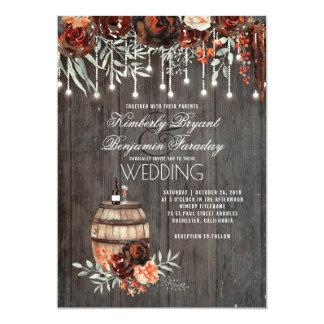 Wine Barrel Rustic String Lights Burgundy Wedding Card