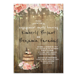 Wine Barrel Rustic String Lights Engagement Party Card