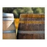 Wine Barrels in Autumn Grape Vineyard Postcard