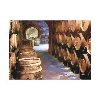 Wine Barrels in the Wine Cellar Canvas Print