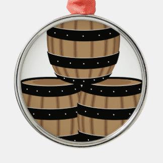 Wine Barrels Metal Ornament