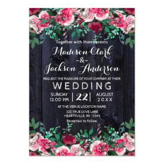 Wine Blush & Navy Wood Burgundy Wedding Invitation