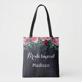 Wine Blush & Navy Wood Burgundy Wedding Monogram Tote Bag