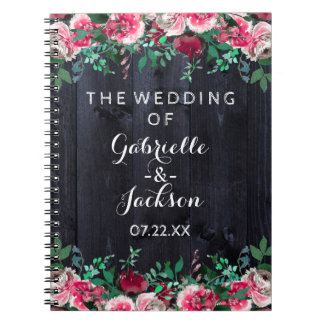 Wine Blush & Navy Wood Burgundy Wedding Planner Notebook