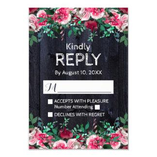 Wine Blush & Navy Wood Burgundy Wedding Reply RSVP Card