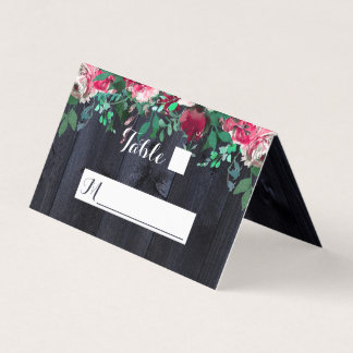 Wine Blush Navy Wood Country Wedding Table Number Place Card