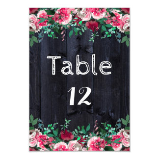 Wine Blush Navy Wood Country Wedding Table Numbers Card