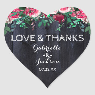 Wine Blush & Navy Wood Wedding Love & Thanks Heart Sticker