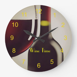 Wine Bottle and Glass Design Wall Clock