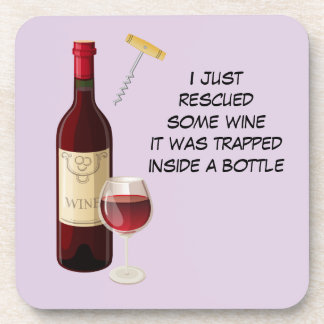 Wine bottle and glass illustration drink coasters