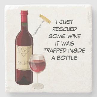 Wine bottle and glass illustration stone coaster