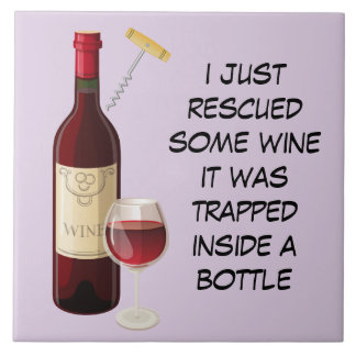 Wine bottle and glass illustration tile
