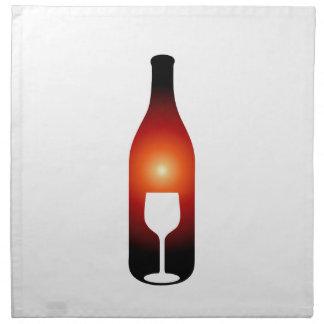 Wine bottle and glass napkin