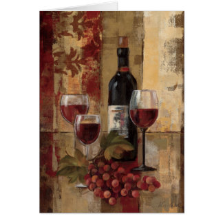 Wine Bottle and Wine Glasses Greeting Card