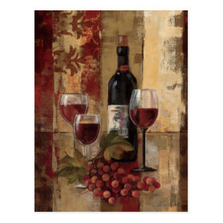 Wine Bottle and Wine Glasses Postcard