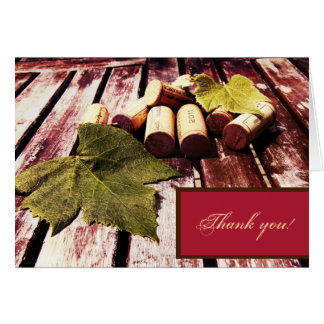 Wine bottle corks and grape leaf thank you card