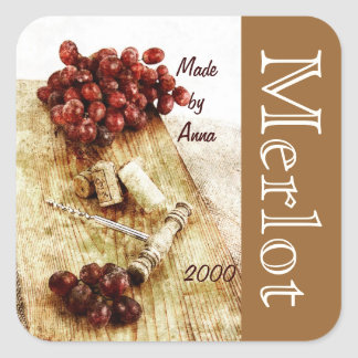 Wine bottle corks, corkscrew and grapes square sticker