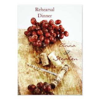 Wine bottle corks, grapes, corkscrew card