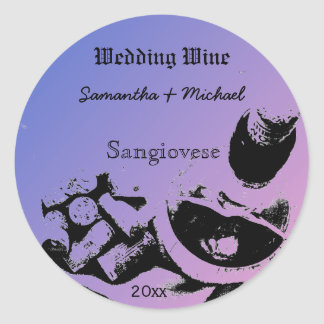 Wine Bottle Corks Sketch Custom Wedding Wine Label Round Sticker