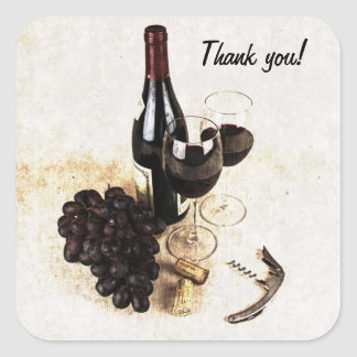 Wine bottle, grapes and corks square sticker