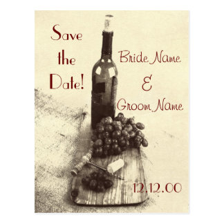 Wine bottle grapes and corkscrew postcard
