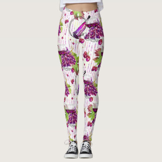 Wine bottle grapes leaves purple green beige leggings