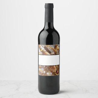Wine Bottle Label- Earth Tones Bronze Bead Print Wine Label