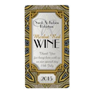 Wine Bottle Labels | Gold+Black Art Deco v3