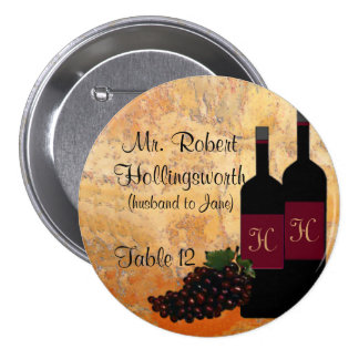 Wine Bottle Name and Table Number 7.5 Cm Round Badge