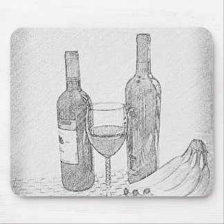 Wine Bottle Still Life Sketch Mouse Pad