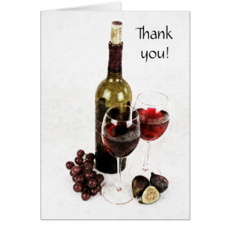 wine bottle, wine glass and fruit thank you note card