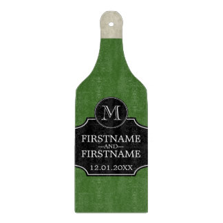 Wine Bottle with Bride and Groom Name Anniversary Cutting Board