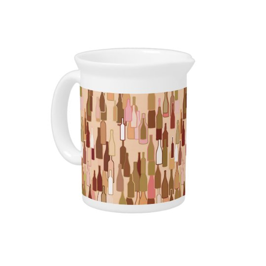 Wine bottles, earth colours, light coral pitcher