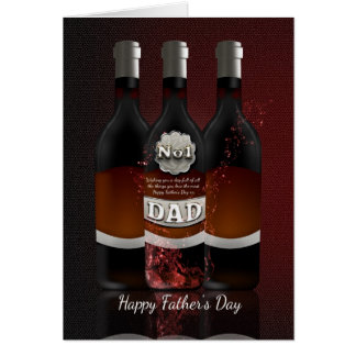 Wine Bottles Father's Day Greeting Card No 1 Dad