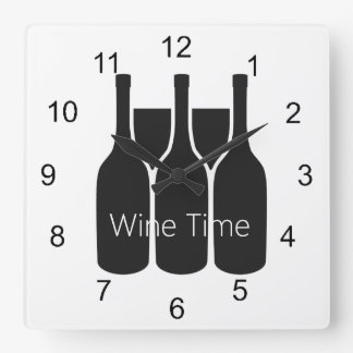 "Wine Bottles Glasses ""Wine Time"" Design Wall Clock"