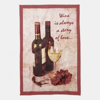 Wine bottles, grapes and wine glass tea towel