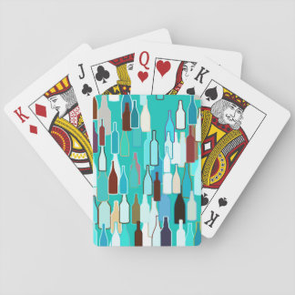 Wine bottles, multi colors, turquoise background poker deck