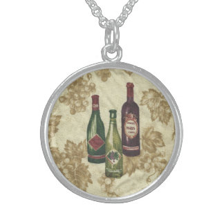 Wine Bottles on Sterling Silver Round Pendant Necklace