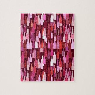 Wine bottles, shades of plum, burgundy background jigsaw puzzle