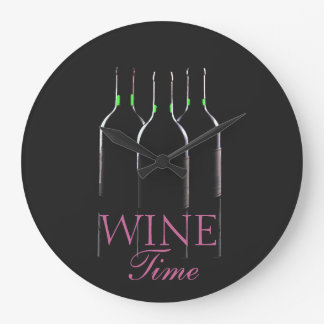 Wine Bottles-Wine Time Large Clock