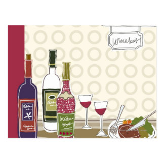 Wine bottles with wineglasses on table postcard
