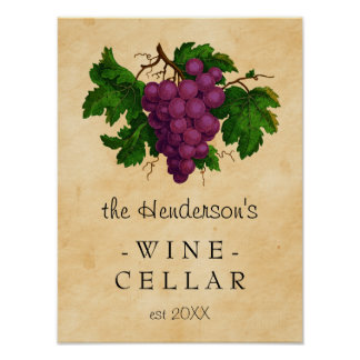 Wine Cellar Vintage Grapes Vineyard | Personalized Poster