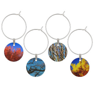 Wine charm (four) with trees pictures
