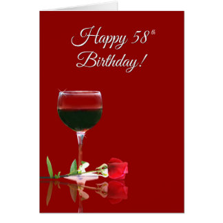 Wine Cheers Happy 58th Birthday Funny Card